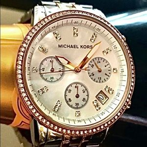 Michael Kors Rose Gold & Silver Watch, Pou…